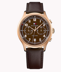 Stainless Steel Leather Strap Watch
