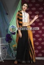 Kristi Art 5.50 m Festive Wear Handloom Linen Cotton Saree, With Blouse Piece