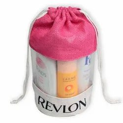 Colored Cosmetic Drawstring Bag with PVC Window