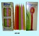 GC-08 Bittoo Wave Taper Spiral Candles 10 Pc / Pkt