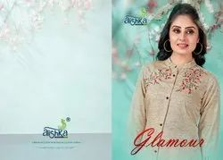 Glamour-Alishka Fancy Rayon Glaze With Embroidery Work Kurtis