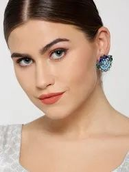 Oxidised Silver-Plated Peacock Inspired Multicolor Drop Earrings