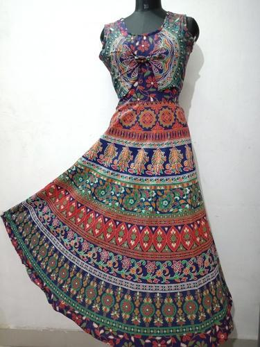 d89024d48cd Cotton V-Neck Sleeveless Jaipuri Printed Long Maxi Koti Dress