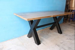 K D Craft Exports Industrial Cross Legs Restaurant Dining Table