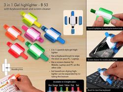 3 in 1 Gel Highlighter With Keyboard Brush And Screen Cleaner