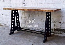 Metal and Wood Rectangular Vintage Bar Table