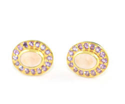 925 Sterling Silver Rose Quartz And Amethyst Stud Earring