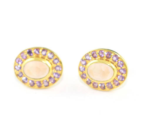 stud amethyst earrings brazilian lilac purple light