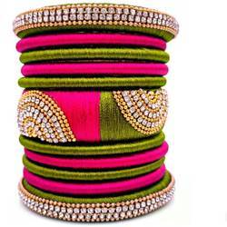 Pink And Green Silk Thread Bangle Set