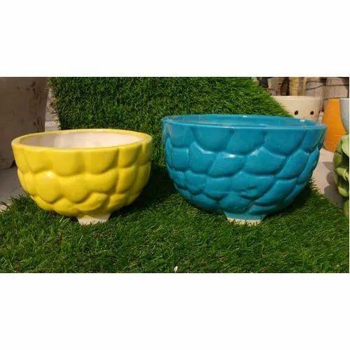 Yellow, Blue Plain Decorative Ceramic Flower Pot, for Decoration