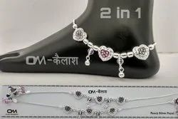 Fancy Silver Anklets