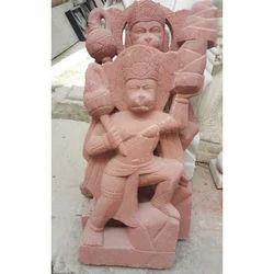 Red Marble Hanuman Statue