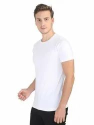 Mens Half Sleeve Plain White T-shirt
