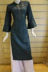 Casual Wear Straight Ladies Fancy Crepe Kurti, Size: M-XXL, Wash Care: Dry clean