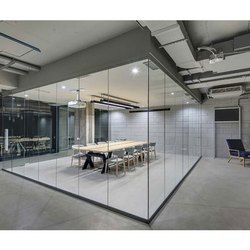 Plain Glass Office Partition, Shape: Rectangular