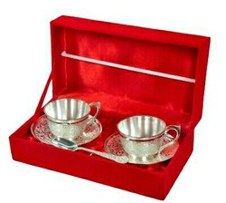 Silver Plated Cup & Saucer Set 4 Pcs.