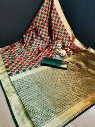 Richa Fashion World Pure Banarashi Silk Saree With Jari Contrast Pallu