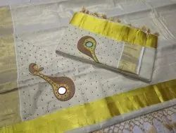 Tissue Border Kerala Traditional Saree, 6 m (With Blouse Piece)