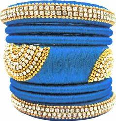 Blue designer silk thread  bangle set