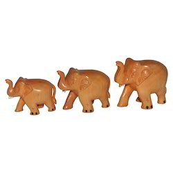 Wooden Plain Elephant Set