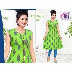 Stitched Rayon Ladies Green Printed Sleeveless Kurti