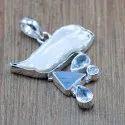 Sterling Silver 925 Jewelry Blue Topaz Multi Gemstone Pendant Wp-6084