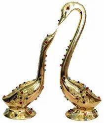 Nirmala Handicrafts Exporters Brass Swan Love Pair Stone Work Home/Table Decorative Showpiece