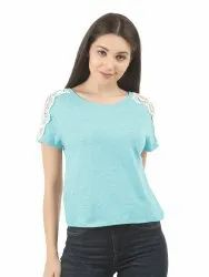 Women Sky Blue Boat Neck T-Shirt with Lace