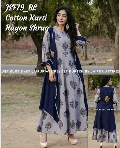 Blue Jaipur Attire A-Line Cotton Kurti With Designer Rayon Shrug
