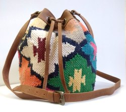 Kilim Leather Bucket bag