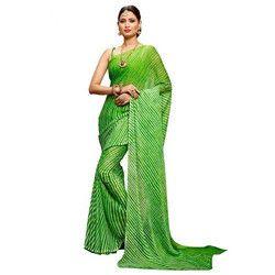 Striped Bandhani Saree