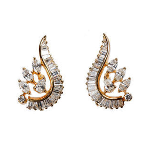 3945c5901 Designer Diamond Stud Earrings at Rs 22000 /pair | Chandni Chowk ...