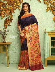 Satin Wedding Wear Paithani Silk Sarees broket saree big border motif paithani, 6.3 m (with blouse piece), Hand Made