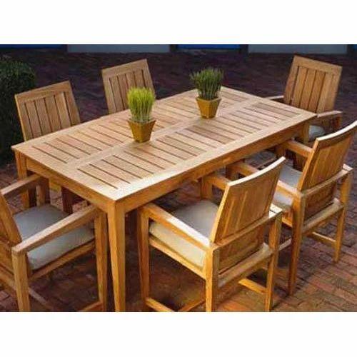 6 Seater Brown Teak Wood Rectangular Dining Table Set Rs 27999 Set Id 19682381462