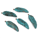 Patina Leaf Feather Charms