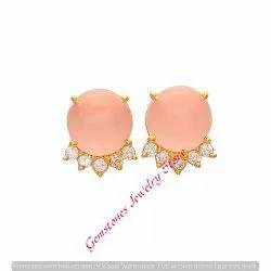 Pink Chalcedony & White Cz Gemstone Earring