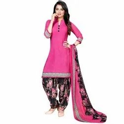 Rajnandini Pink Crepe Printed Unstitched Dress Material