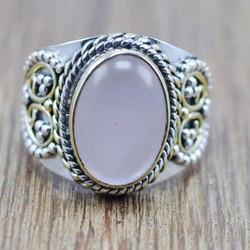 925 STERLING SILVER AND BRASS JEWELRY ROSE QUARTZ GEMSTONE RING WR-5815