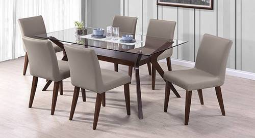 Wood And Glass 6 Seater Dining Table With Glass Top 318318bed24e