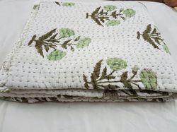 Jaipuri Razai, Indian Hand Block Printed Cotton Winter Khatha Quilts