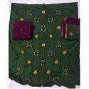 Ladies Green and Purple Bandhani Dress Material