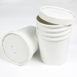 White 150 Paper Cup with Lid, For Event