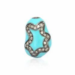 Chic Designs Pave Diamond Turquoise Bead