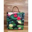 Digital Print Multi Color Fabric Formal Sling Cum Clutch Handbag