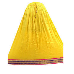 Rayon Yellow Long Skirts