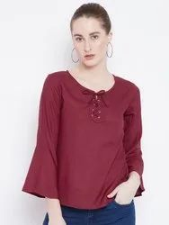 Ladies Plain Casual Rayon Top