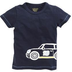 Navy Car Print Half Sleeves T-Shirt