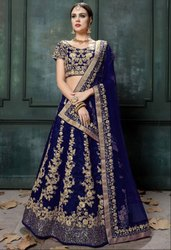 Royal Navy Blue Raw Silk Lehenga Choli
