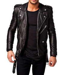 Mens Full Sleeves Genuine Leather Smooth Touch Soft Black Jacket