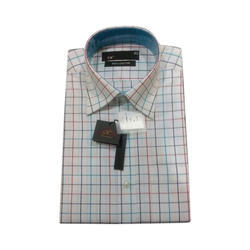 Pure Cotton Men Full Sleeves Checked Shirt